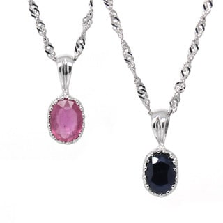 De Buman Sterling Silver Natural Sapphire or Ruby Solitaire Necklace
