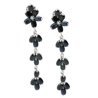 De Buman Sterling Silver Natural Sapphire Dangle Earrings