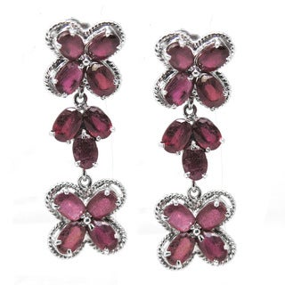 De Buman Sterling Silver Natural Ruby Dangle Earrings