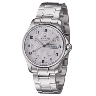 Swiss Army Men's V241551.1 'Officers' Silver Dial Stainless Steel Day Date Watch With Pocket Knife