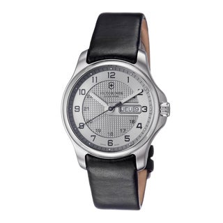 Swiss Army Men's V241550.2 'Officers' Silver Dial Black Leather Strap Watch With Pocket Knife