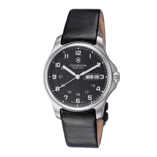 Swiss Army Men's 241549.1 'Officers' Black Dial Black Leather Strap Watch With Pocket Knife