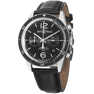 Bell & Ross Men's BR126 Sport Black 'Vintage' Black Dial Black Leather Strap Watch