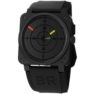 Bell & Ross Men's BR03-92 RADAR 'Avation' Black Dial Black Rubber Strap Watch