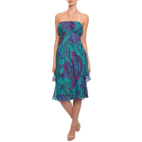 Ralph Lauren Women's Paisley Silk Layered Evening Dress