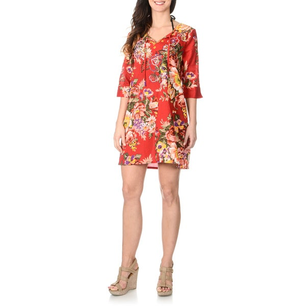 La Cera Women's Red Floral Embellished Tunic Swim Cover-up