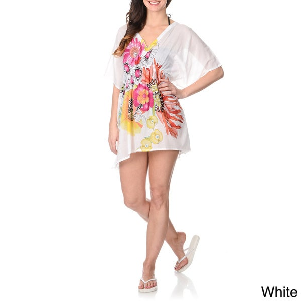 La Cera Women's Center Floral Print Kimono Swim Cover-up