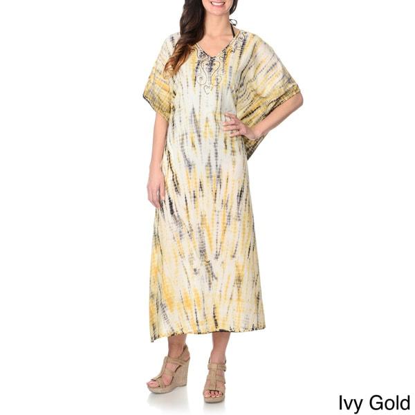 La Cera Women's Tie Dye Kimono Maxi Swim Cover Up