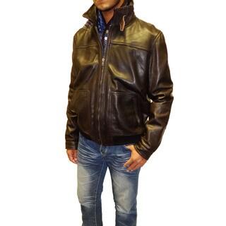 Tibor Design Men's Leather Bomber Jacket