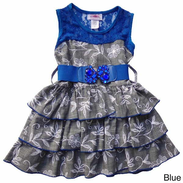 Toddler and Girls Lace and Denim Tiered Dress