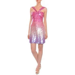 Aidan Mattox Women's Ombre Fully Sequined Halter Evening Dress