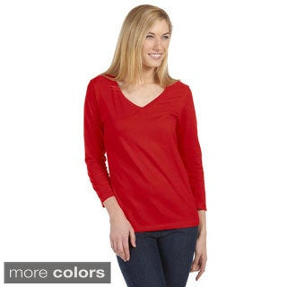 Bella Women's Missy 3/4-sleeve V-neck Jersey T-shirt