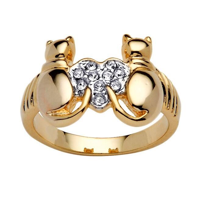 PalmBeach Jewelry PalmBeach Crystal Cat Ring Bold Fashion