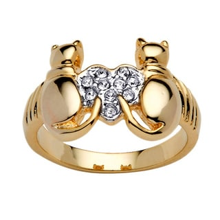 PalmBeach Round Crystal 14k Yellow Gold-Plated Cats and Heart Ring Bold Fashion