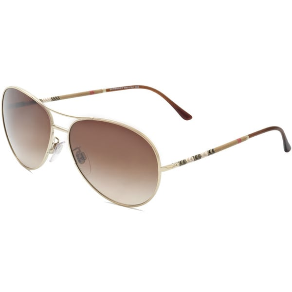 Burberry Unisex BE 3056 100213 Pale Gold Metal Aviator Sunglasses