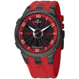 Perrelet Men's A1051/6 'Turbine XL' Red Dial Red Rubber Strap Automatic Watch