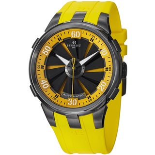 Perrelet Men's A1051/7 'Turbine XL' Yellow Dial Yellow Rubber Strap Automatic Watch