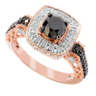 14k Rose Gold 1 3/4ct TDW Black and White Diamond Ring (H-I, I2-I3)
