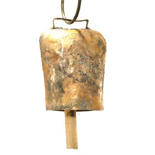 Handmade 4.5-nches Antiqued Goldtone Cow Bell (India)
