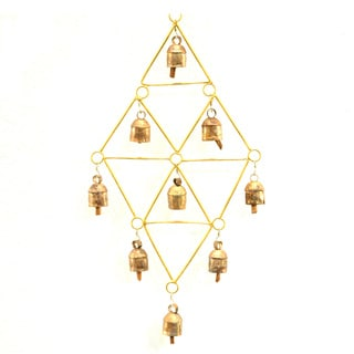 Handmade Goldtone Diamonds Recycled Metal Wind Chime (India)
