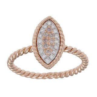 18k Rose Gold 1/5ct TDW White and Pink Diamond Eye Rope Ring (G-H, SI1-SI2)
