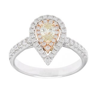 Kabella Luxe 18k White Gold 5/8ct TDW Brown Diamond Halo Ring (G-H, VS1-VS2)