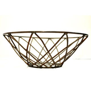 Hand-woven Decorative Iron Basket (India)