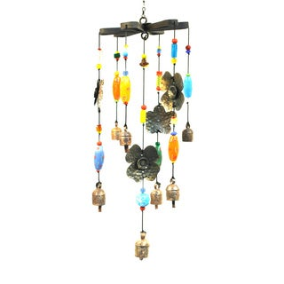 Handmade Hand Blown Glass Beads Falling Flowers Wind Chime (India)