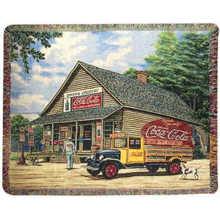 Coke Grocery Store Tapestry Throw