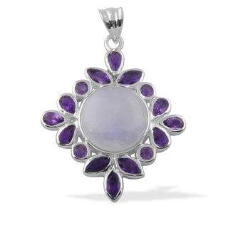 Sitara Handcrafted Sterling Silver 17.6 TGW Moonstone and Amethyst Pendant (India)