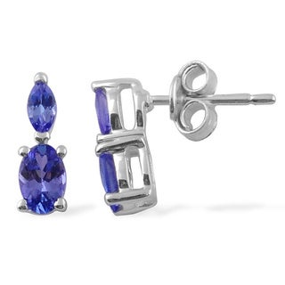 Sitara Hand-crafted Sterling Silver Tanzanite Stud Earrings (India)