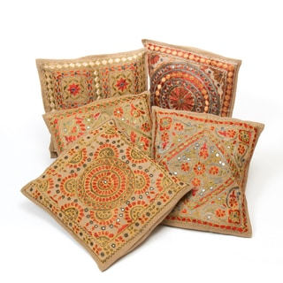 Set of 5 Ari Embroidered Beige Cushion Covers with Mirror Accents (India)