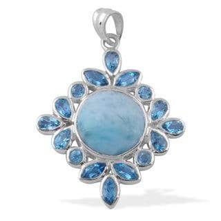 Sitara Handcrafted Sterling Silver 17.6ct TGW Larimar and Blue Topaz Pendant (India)