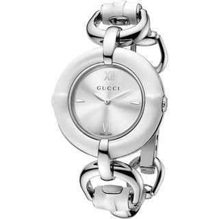 Gucci Women's YA132406 Bamboo Round Silvertone Bangle Bracelet Watch