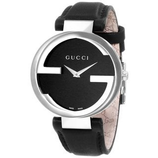 Gucci Women's Interlocking Black Leather Steel Case Watch