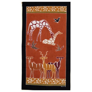 Hand-painted 'Giraffe and Antelope' African Tapestry (Zambia)