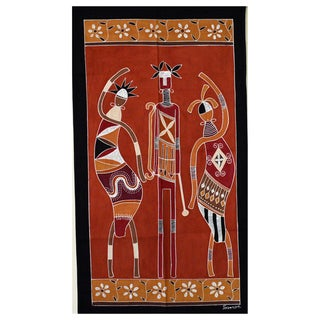 Hand-painted 'Ladies and Warrior' African Tapestry (Zambia)