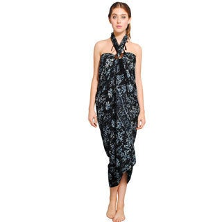 Women's Floral-print Sarong and Coconut Shell Buckle (Indonesia)
