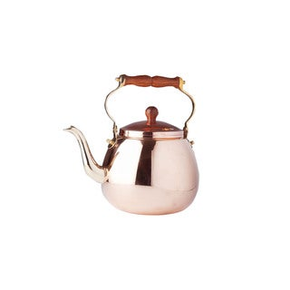Solid Copper 4-quart Tea Kettle with Wood Handle