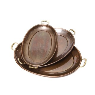 Decor Antique Copper Oval Trays (Set of 3)