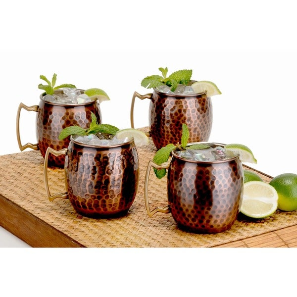 Antique Hammered Solid Copper Moscow Mule Mugs (Set of 4)