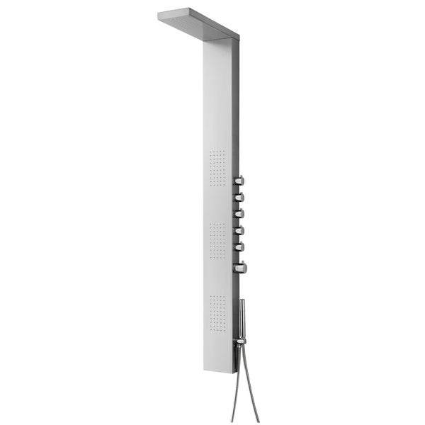 Blue Ocean 63-inch Stainless Steel Thermostatic Shower Panel with Rainfall Showerhead, Body Nozzles, and Handheld Showerhead