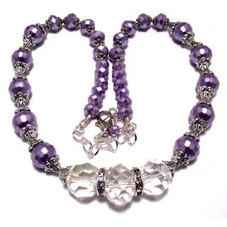 Pearlized Purple and Clear Crystal 4-piece Wedding Jewelry Set