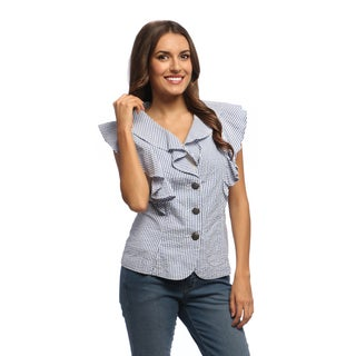 Live A Little Women's Blue Striped Ruffle Vest Shirt