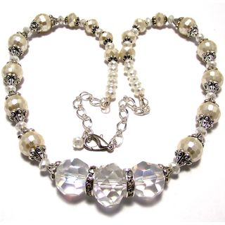 Pearlized Cream and Clear Crystal 4-piece Wedding Jewelry Set