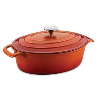 Korkmaz Casterra 3.5-quart Orange Ceramic-coated Cast Iron Oval Casserole Dish
