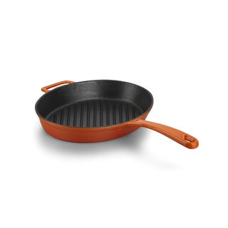 Korkmaz Casterra 12.5-inch Ceramic Coating Cast Iron Oval Fry Pan
