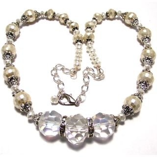 Clear and Pearlized Cream Crystal 4-piece Wedding Jewelry Set