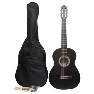 ADM Matte Black Classical Nylon Strings Student Guitar Package