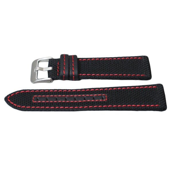 Hadley Roma Genuine Kevlar® Watch Strap with Red Contrast Stitching
